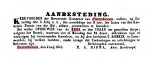 1845 - 20 juni PB kerk wederopbouw