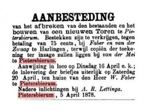 1878 - 5 april - aanbesteding nieuwe kerktoren PB